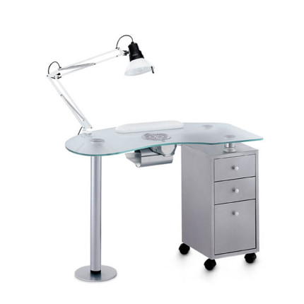 Metal glass vented manicure tables for beauticians artecno for Manicure tables with ventilation
