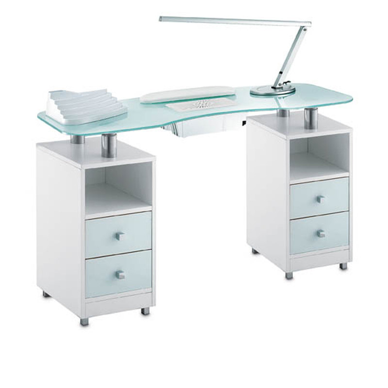 Manicure table wood glass double vented for beauticians for Long manicure table