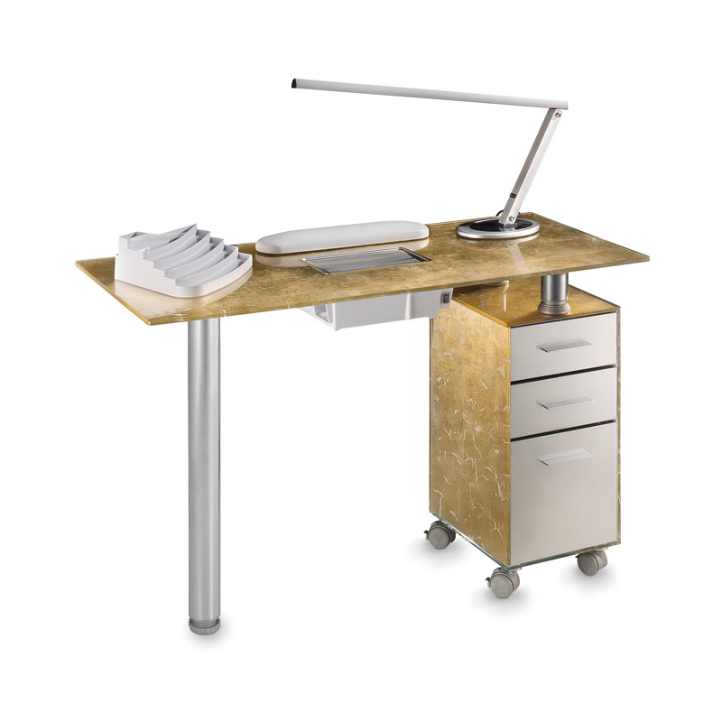 Gold glass vented manicure table for beauticians artecno for Long manicure table